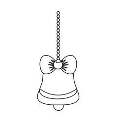 line bell with ribbon bow hanging to merry vector image