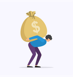 man carrying big moneybag vector image