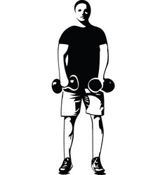 Man with barbell doing squats in gym vector