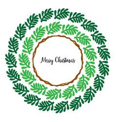merry christmas greeting wreath vector image