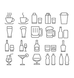 Modern line style icons set 9 drinks beverages in vector