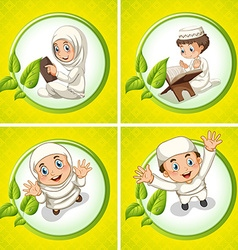 Muslim boy and girl praying vector image