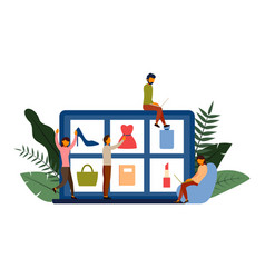 online shopping e-commerce concept with character vector image