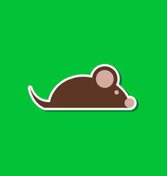 Paper sticker on stylish background pet mouse vector