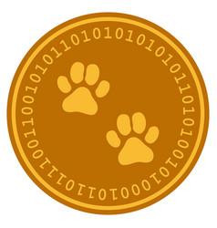 Paw footprints digital coin vector