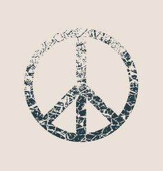 peace symbol in grunge style vector image