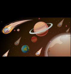 Planets in space scene vector