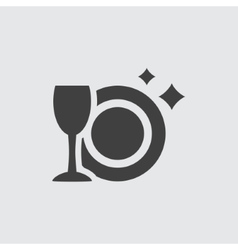 Plate and wineglass icon vector image