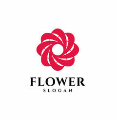 red flower logo abstract beauty spa salon cosmetic vector image