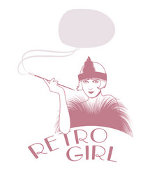 retro style emblem representing a flapper girl vector image