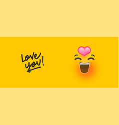 Romantic 3d emoji with love you text quote concept vector