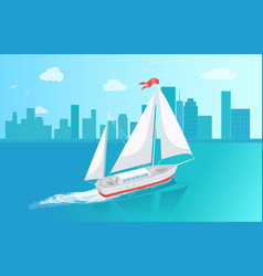 sail boat with white canvas sailing in deep waters vector image