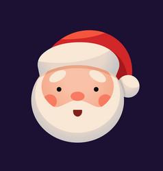 santa claus face on dark background sticker jolly vector image