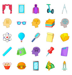 Science project icons set cartoon style vector