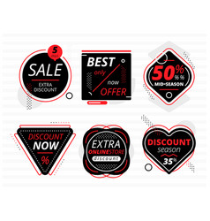Set of black banners with sale offers vector