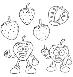 set of strawberry vector image