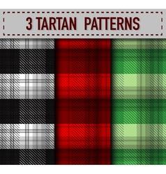 Set three tartan plaid samples in vector