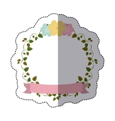 Sticker colorful ornament creepers with flowers vector