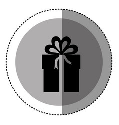sticker monochrome circular emblem with gift box vector image