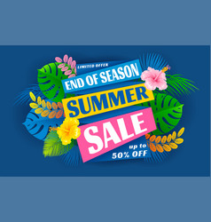 summer sale end season advertising banner vector image