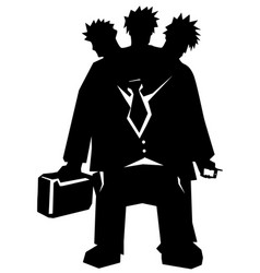 three headed manager stencil vector image