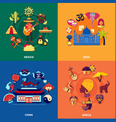 Travel to countries set vector