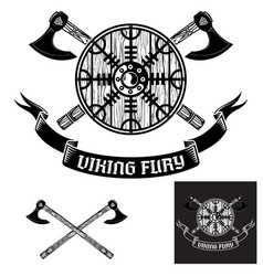 Two crossed battle viking axes and viking shield vector