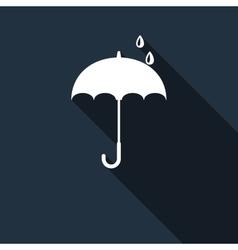 Umbrella icon with long shadow vector image