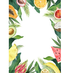 watercolor composition green tropical vector image