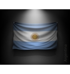 waving flag Argentina on a dark wall vector image