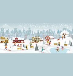 Weekend in the city winter vector