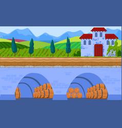 Wine storage cartoon flat vector