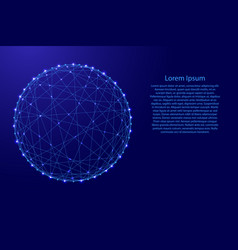 wireframe d sphere from futuristic polygonal blue vector image