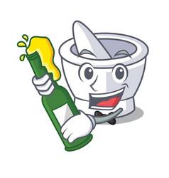 With beer mortar mascot cartoon style vector
