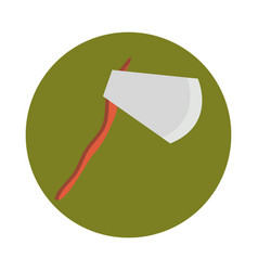 wooden axe tool retro flat and block icon vector image