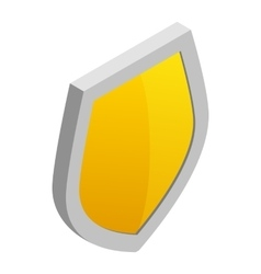 Yellow shield icon in isometric 3d style vector image