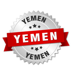 Yemen round silver badge with red ribbon vector