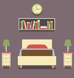 Flat Design Single Bed With Lamps vector image