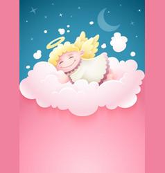 pretty angel baby sleeping vector image vector image