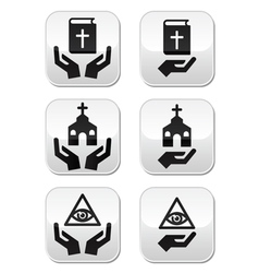 Religion buttons - hands with bible church eye vector image
