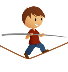 Boy in red shirt balance on the rope vector image