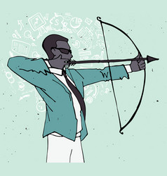 businessman with bow and arrow archery business vector image