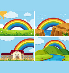 four scenes with rainbow in the sky vector image vector image