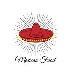 red sombrero mexican food badge isolated on white vector image