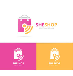 Shop and wifi logo combination sale and vector
