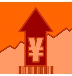 Yen sign on grow up arrow and bar code vector