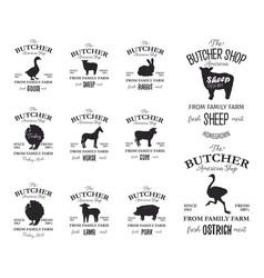 butcher american shop labels design set with vector image vector image