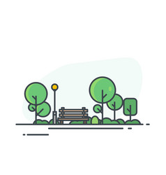 city park with bench vector image vector image