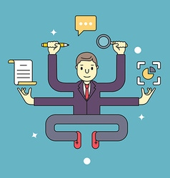 Concept of multitasking businessman who works with vector image