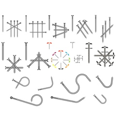 Set of steel nails vector image